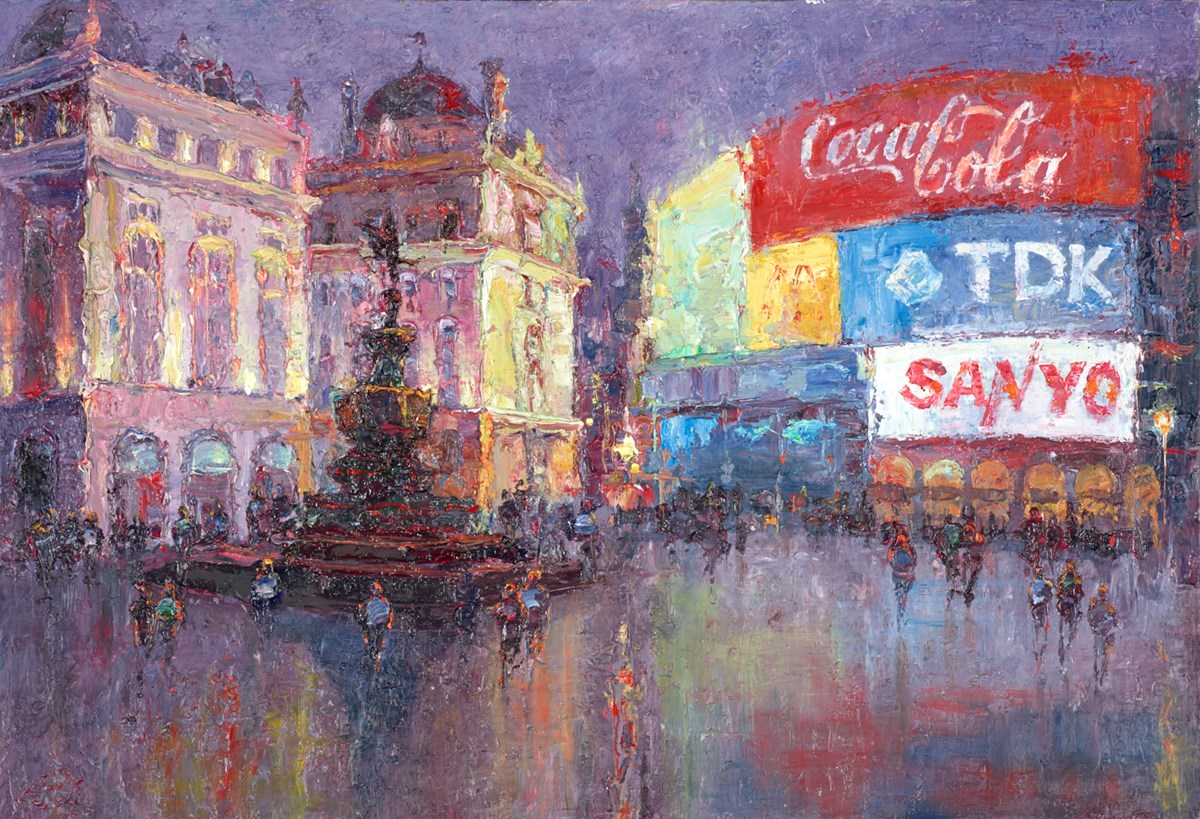 Piccadilly Circus at Night II by lana okiro -  sized 19x13 inches. Available from Whitewall Galleries